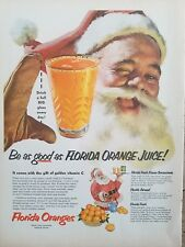 1953 Florida oranges orange juice Jolly Santa Claus big glass vintage ad