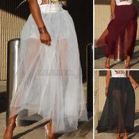 ZANZEA Damen Elastische Taille Lang Röcke Mesh Sheer Transparent A-Linie Kleid