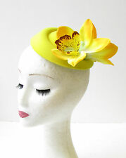 Yellow Orchid Flower Pillbox Hat Fascinator Headpiece Races Rockabilly 50s 2064