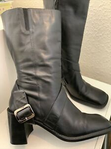 Next Black Leather Mid Calf Boots Size 42/8 (160BB)