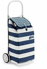 Shopping Trolley Bag On Wheels Blue And White Stripe Zip Pocket Strong Frame