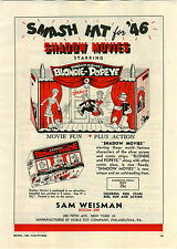 1946 PAPER AD Toy Play Shadow Movies Blondie Popeye
