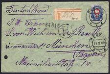 Russia Estonia 1909 20k Registered Reval to Germany