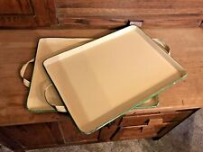 Vintage Enamelware Farmhouse Rustic Green And Yellow Enamel Trays Set of 2 Rare
