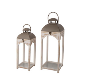 Set of 2-Mondern Farmhouse Natual Color Wooden Lantern by Glitzhome