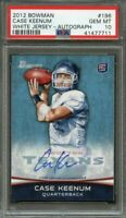 2012 bowman autograph #196 CASE KEENUM denver broncos rookie card (pop 3) PSA 10