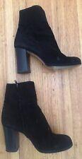 Vintage Jil Sander Black Suede Round Toe High Block Heel Ankle Boots 9 $400