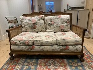 Beautiful Bergere Sofa And Two Armchairs. Floral Linen Mix Cushions.