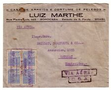 BRAZIL 1941 AIR MAIL COVER SOROCABA TO URUGUAY. CiE. ENERALE AEROPOSTALE CACHET?