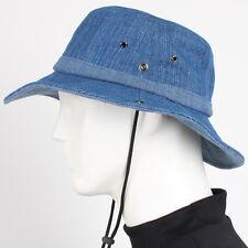 Blue Denim Outdoor Sun Visor Safari Western Cowboy Cotton Hat Jungle Cap Wide Nw