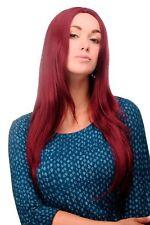 Perruque Rouge Grenat Lisse Raie au Milieu 80 Cm Cheveux Longs 3217-39