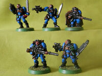A6 WARHAMMER 40K SPACE MARINES ULTRA - PAINTED SCOUT SQUAD METAL