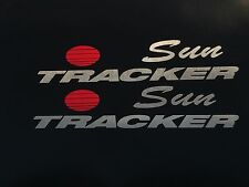2 Sun tracker Pontoon suntracker boat decals  Brushed Aluminum Marine Vinyl