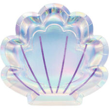 8 x Shell Shape Party Paper Plates 23cm Iridescent Finish Mermaid Party Supplies