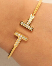"14K Yellow Gold Finish 2 CTW Round Diamond Bangle Bracelet 7.25"" 2 Carats"