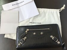 $595 BALENCIAGA Giant Continental Long Zip Wallet Black Leather Silver Hardware