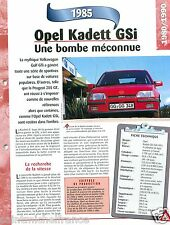 Opel Kadett GSi 16V 4 Cyl. 1985 Germany Allemagne Car Auto Voiture FICHE FRANCE