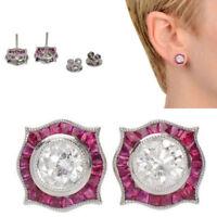 3.92 CT DIAMOND VINTAGE ART DECO ANTIQUE 14K GOLD OVER STUD EARRINGS 1935 gift