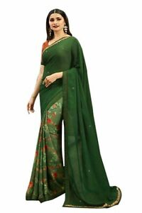 Saree Sari Georgette Indian Wedding Bollywood Party Wear Blouse Pakistani Floral