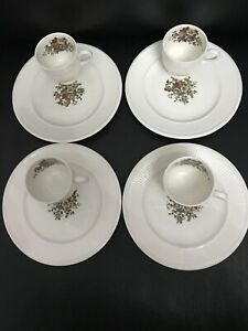4 X Wedgwood Conway Edme Coffee Espresso Chocolate Cups And Saucers Excellent!