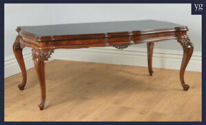 """Antique Italian Louis XV Style 6ft 6"""" Carved Solid Walnut & Glass Dining Table"""