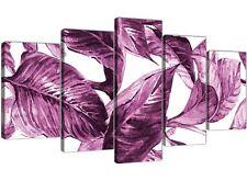 XL Prugna Melanzana Bianco Tropical foglie a Muro Art-Multi Pannello 5 - 5319
