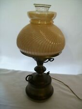 """Antique Oil Lamp Style Electric Table Lamp w/ 3-Way Switch 17"""" Tall"""