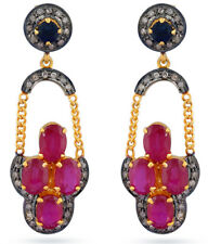 Victorian 925 Silver Dangler Earring 2.55cts Rose Cut Diamond Ruby Sapphire