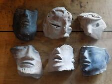 Pre-Colombian Mayan Six Terracotta Face Fragments (700 B.C- 1200 A.D)