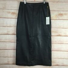 Margaret Godfrey Black Leather Vintage Long Pencil Straight Skirt Sz 14 NEW NWT