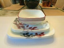 12 PCS. CORELLE KYOTO LEAVES SQUARE DINNERWARE - DINNER/LUNCHEON/SOUP BOWLS