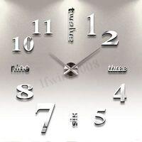 3D Autocollant Horloge Murales DIY Grand Design Moderne Décalque Décor Bricolage