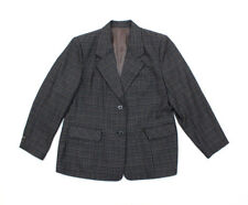Womens Jacket Gray Plaids and Checks Two Button Up Two Pockets Blazer Size Large
