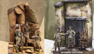 1/35 Resin 6 Soldiers Building Scenery Included  unpainted unassembled