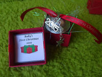 Baby's 1ST First Christmas 2017 Silver Reindeer Jingle Bell Gift Boxed Snowflake