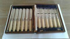 """VINTAGE """" FISH KNIVES & FORKS"""" EPNS (ORIGINAL)BOXED NICE SET/ HANDLES (BOX POOR)"""