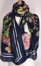 Designer Inspired Silk Scarf Navy Pink Floral Oversized Soft Feel 100% SILK NEW