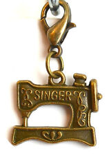 Bronze Sewing Machine Clip On Charms Keyring Pendant Free Gift Bag New