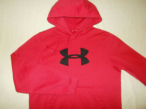 UNDER ARMOUR RED HOODED SWEATSHIRT MENS SMALL EXCELLENT CONDITION