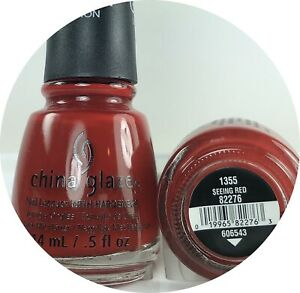 China Glaze Nail Polish SEEING RED 1355 Bright Brick Red Creamy Lacquer