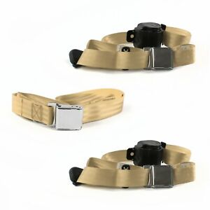 Ford 1932  Model B  Airplane 3pt Tan Retractable Bench Seat Belt Kit - 3 Belts