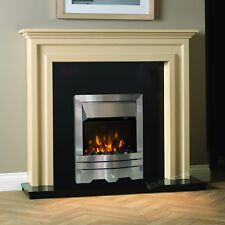 "ELECTRIC BLACK SILVER FIRE FLAME WALL SURROUND FIREPLACE SUITE 54"" - Made in UK"