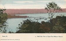 Birds Eye View of Upper Free Bridge at Narrows in Peoria IL Postcard
