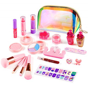 ARANEE 21PCS Kids Make Up Set for Girls, Washable Play Makeup Toy Kit with Bag