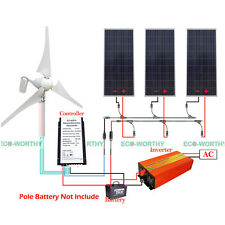 400W Power DC Wind Turbine Generator & 160W Solar Panel 12V-220V 1KW Inverter