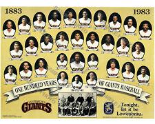 1983 SAN FRANCISCO GIANTS 8X10 TEAM PHOTO 100 YEARS 1883 NY GOTHAMS