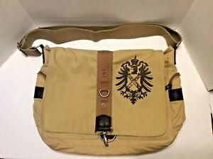 Fossil Khaki Messenger Bag Canvas Leather Trim Shoulder Carryall Bag