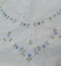 "2 Shabby Chic White Ruffled Throw Pillow Cover Blue Embroidered Flowers 21.5"" Sq"