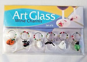 Art Glass Halloween Wine Charms Handcrafted set of 6 LS Arts Inc. New in Box