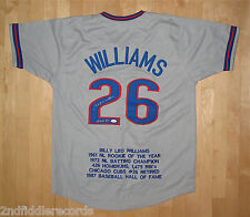 BILLY WILLIAMS-CHICAGO CUBS-Autographed Stat Jersey-JSA Authenticated-HOF 1987